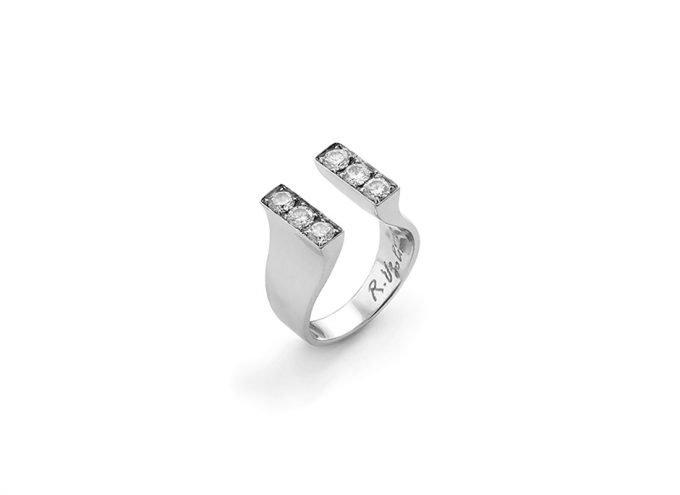 anello di fidanzamento magnete 18 carati oro bianco diamanti bianchi