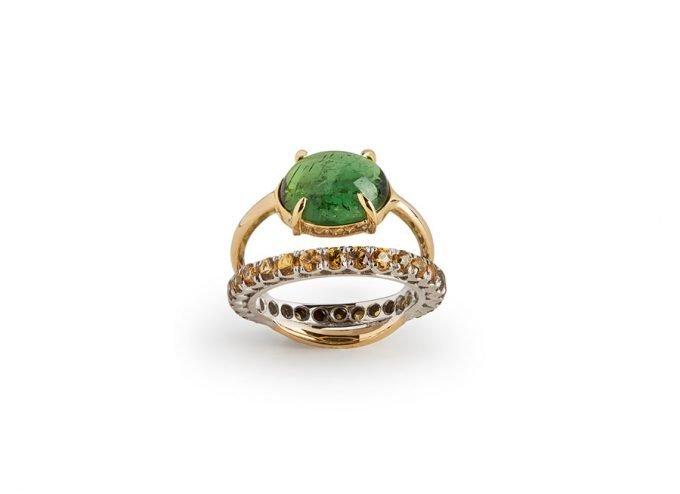 Amuleto Gemma in Oro Giallo 18 Carati, Diamanti, Zaffiri e Tormalina