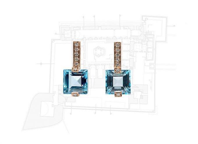 Orecchini Castello di Trani Blue in Oro Rosa 18 carati, Topazio Azzurro e Diamanti Bianchi