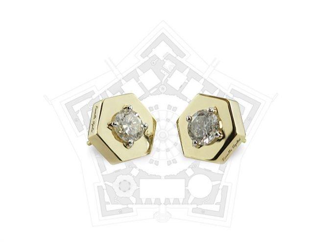 """Orecchini """"Esagono"""" in Oro Giallo 18 Carati e Diamanti Bianchi"""