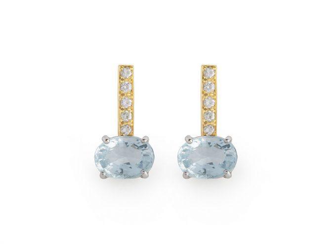 """Orecchini """"Rugiada"""" in Oro Giallo 18 Carati con Diamanti Bianchi e Topazio Azzurro"""
