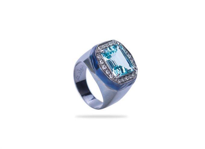 Anello Roccia in Oro Bianco Brunito 18 Carati Smaltato Blu con Acquamarina e Diamanti
