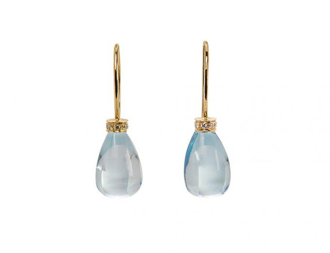 Orecchini Ghiaccio in Oro Giallo 18 Carati con Acquamarina e Diamanti Bianchi da 0,10 Carati