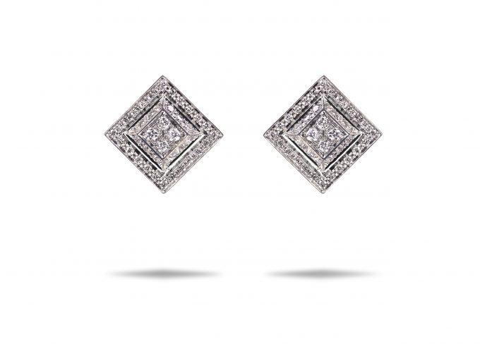 Orecchini Quadri in oro bianco 18 carati e diamanti bianchi
