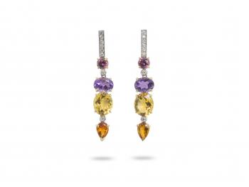 Rossella Ugolini 18 k gold amethyst citrine deco earrings