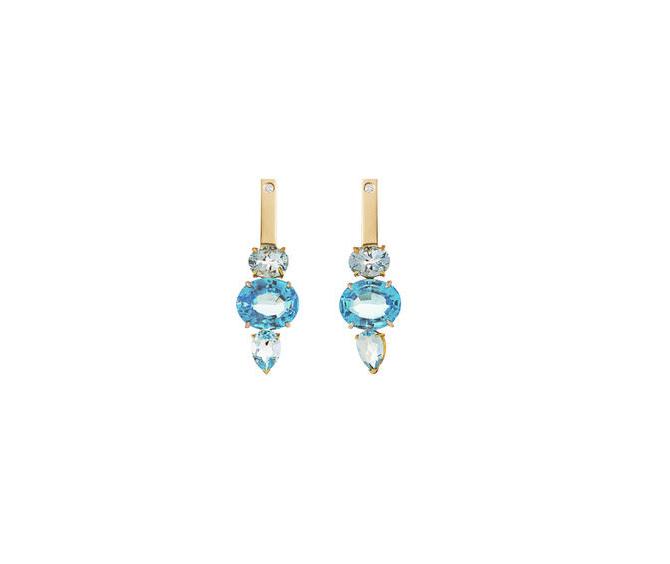 Orecchini Tuffi in Oro bianco e giallo 18 carati, Topazi azzurri e Diamanti bianchi da 0.16 carati.