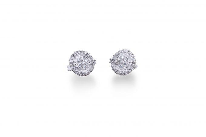 orecchini dischi diamante 18 carati oro bianco