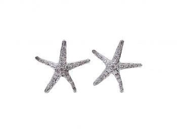 Orecchini Stelle Marine 18 carati oro bianco e diamanti1