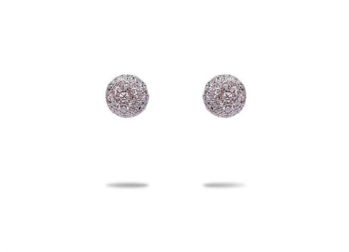 orecchini sfere diamanti 18 carati oro bianco