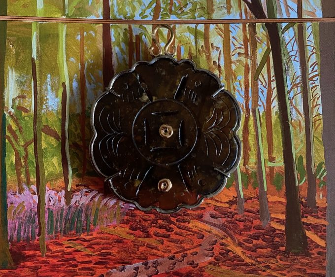 Pendente Giada Marrone con giada, argento dorato brunito e corda di seta