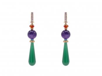 Rossella-Ugolini-18k-Gold-Agatha-Amethyst-Tourquise-Carnelian-White-Diamonds-Dangle-Earrings